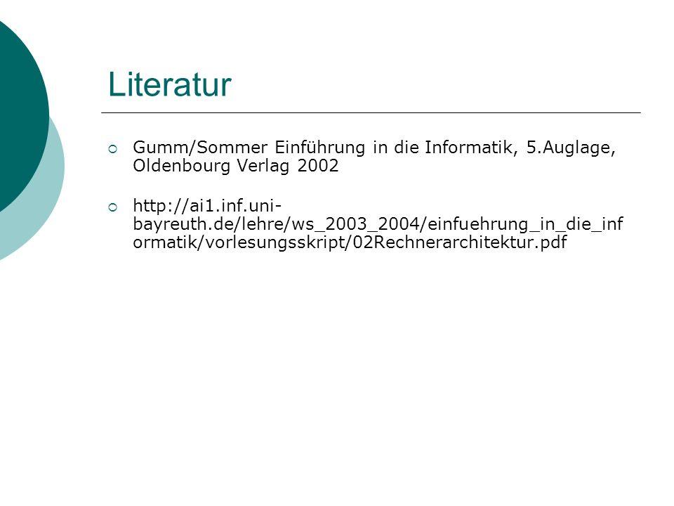 Literatur Gumm/Sommer Einführung in die Informatik, 5.Auglage, Oldenbourg Verlag 2002 http://ai1.inf.uni- bayreuth.de/lehre/ws_2003_2004/einfuehrung_i