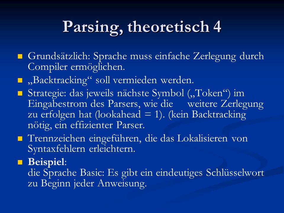 Parsing, theoretisch 4 Grundsätzlich: Sprache muss einfache Zerlegung durch Compiler ermöglichen. Backtracking soll vermieden werden. Strategie: das j