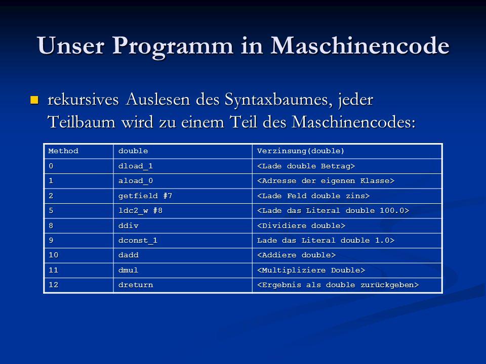 Unser Programm in Maschinencode rekursives Auslesen des Syntaxbaumes, jeder Teilbaum wird zu einem Teil des Maschinencodes: rekursives Auslesen des Sy