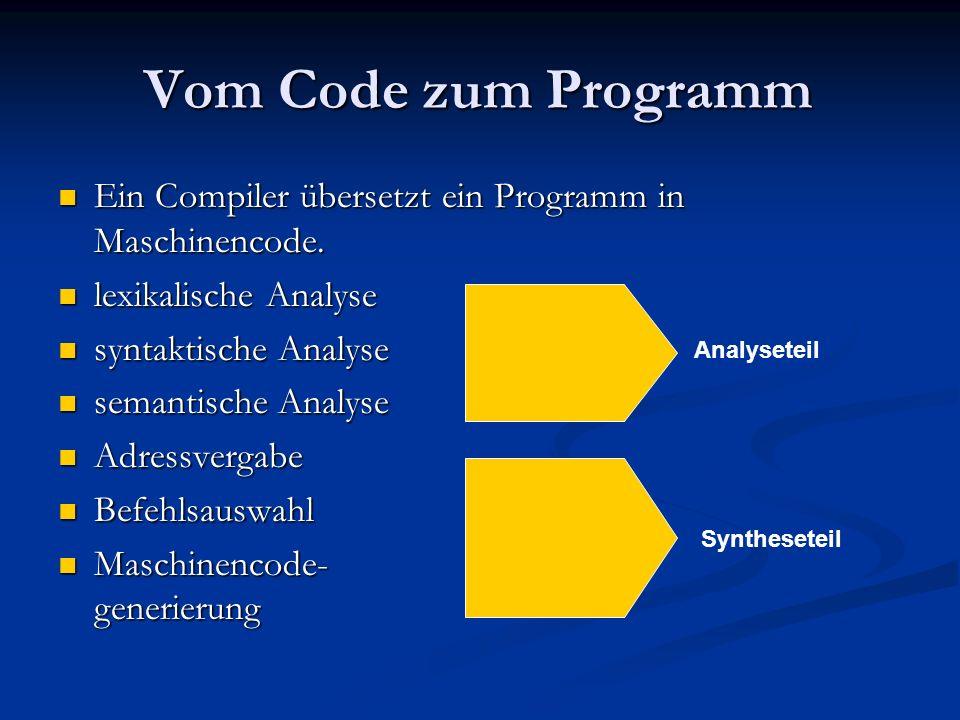 Vom Code zum Programm Ein Compiler übersetzt ein Programm in Maschinencode. Ein Compiler übersetzt ein Programm in Maschinencode. lexikalische Analyse