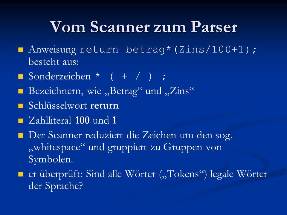 Vom Scanner zum Parser Anweisung return betrag*(Zins/100+1); besteht aus: Sonderzeichen * ( + / ) ; Bezeichnern, wie Betrag und Zins Schlüsselwort ret