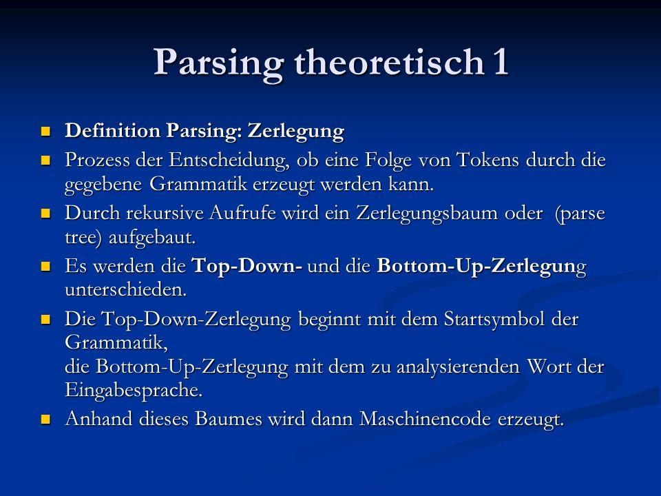 Parsing theoretisch 2 Top-Down-Zerlegung: Top-Down-Zerlegung: