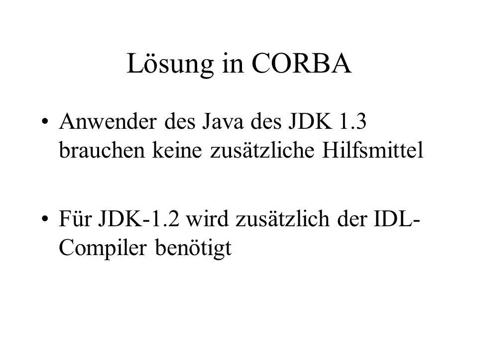 Der Vertrag in IDL In CORBA werden Verträge zwischen Client und Server in der OMG-IDL-Sprache zur Definition von Schnittstellen formuliert Aus der IDL-Definition werden mit einem IDL-Compiler die Schnittstellen für Client und Server generiert