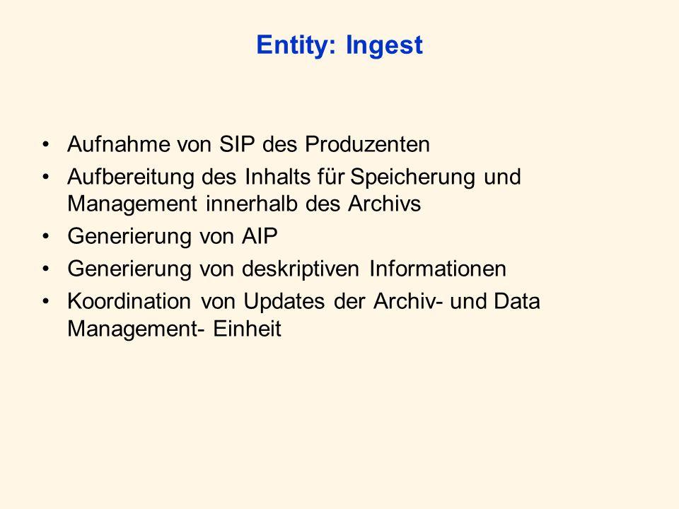 Entity: Archival Storage Speicherung der AIPs Bereitstellung der entsprechenden Services und Funktionen (z.B.