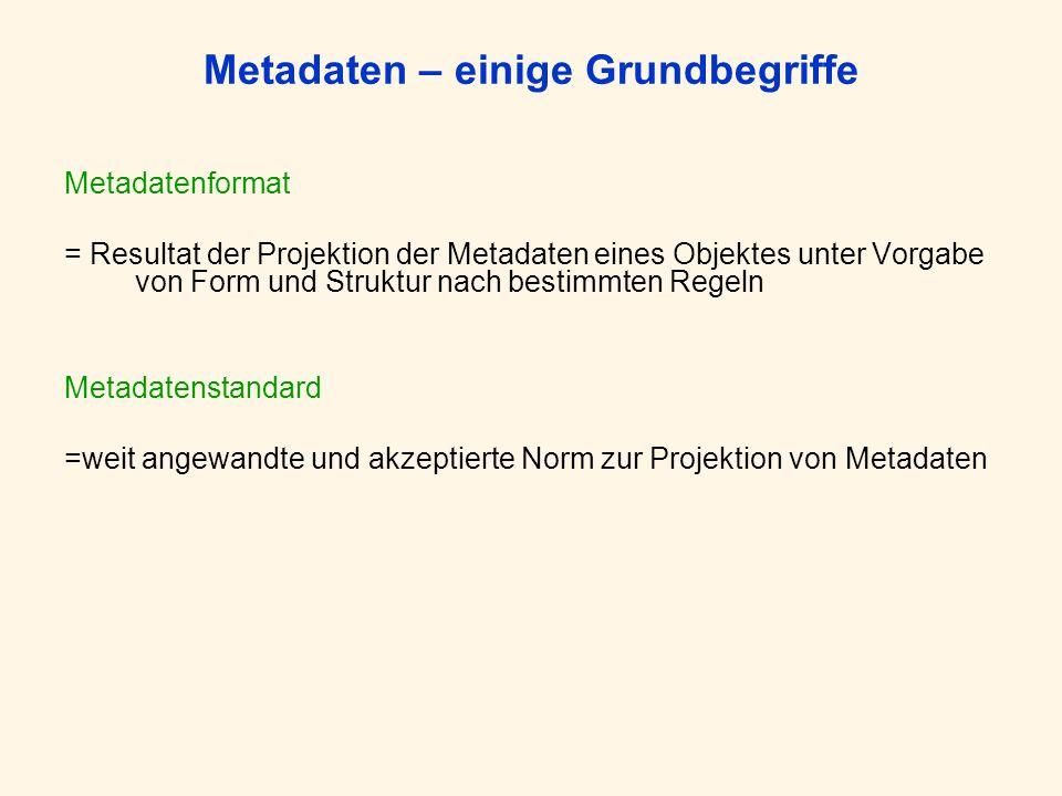 Metadaten – einige Grundbegriffe Metadatenformat = Resultat der Projektion der Metadaten eines Objektes unter Vorgabe von Form und Struktur nach bestimmten Regeln Metadatenstandard =weit angewandte und akzeptierte Norm zur Projektion von Metadaten
