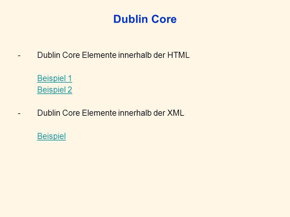 Dublin Core Qualified DC Verfeinerung der Basiselemente –(Vocabulary-term, encoding-scheme, refinement) –Empfehlung: kontrolliertes Vokabular – Dumb-down-Prinzip Beispiel Qualified DC in HTML