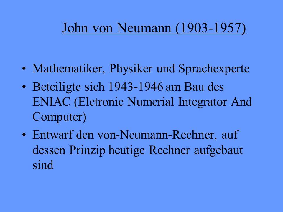 Neue Prinzipien des von-Neumann- Rechners Die Struktur des Rechners ist unabhängig von den zu bearbeitendem Problem Zur Lösung eines Problems muss eine Bearbeitungsvorschrift (Programm) eingegeben und in den Speicherabgelegt werden Die Dezimalarithmetik wird durch die Binärarithmetik ersetzt