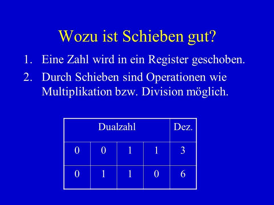 Wozu ist Schieben gut? 1.Eine Zahl wird in ein Register geschoben. 2.Durch Schieben sind Operationen wie Multiplikation bzw. Division möglich. Dualzah