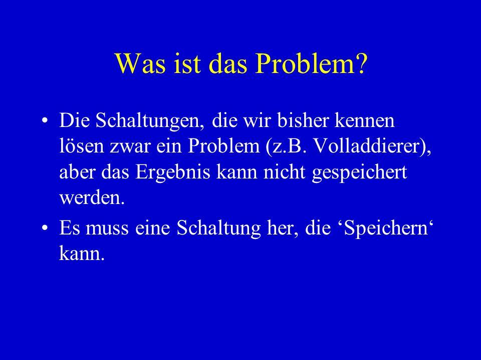 Was ist das Problem? Die Schaltungen, die wir bisher kennen lösen zwar ein Problem (z.B. Volladdierer), aber das Ergebnis kann nicht gespeichert werde