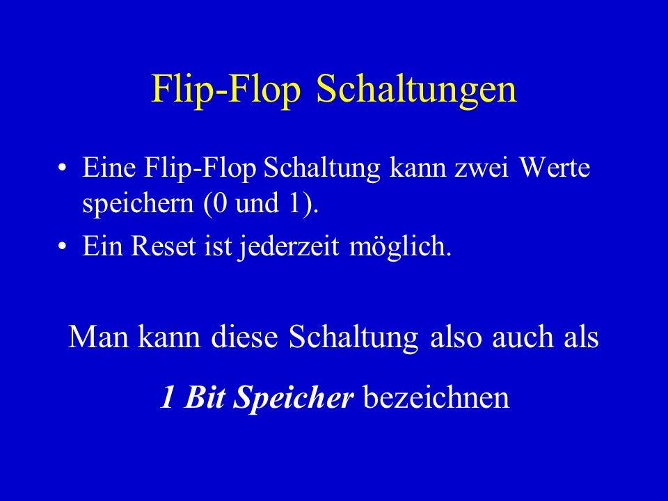 Flip-Flop Schaltungen Eine Flip-Flop Schaltung kann zwei Werte speichern (0 und 1). Ein Reset ist jederzeit möglich. Man kann diese Schaltung also auc