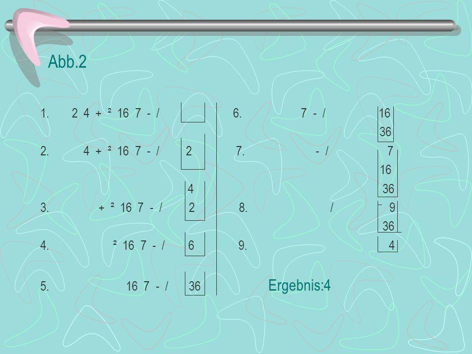Abb.2 1.2 4 + ² 16 7 - / 6. 7 - / 16 36 2. 4 + ² 16 7 - / 2 7.