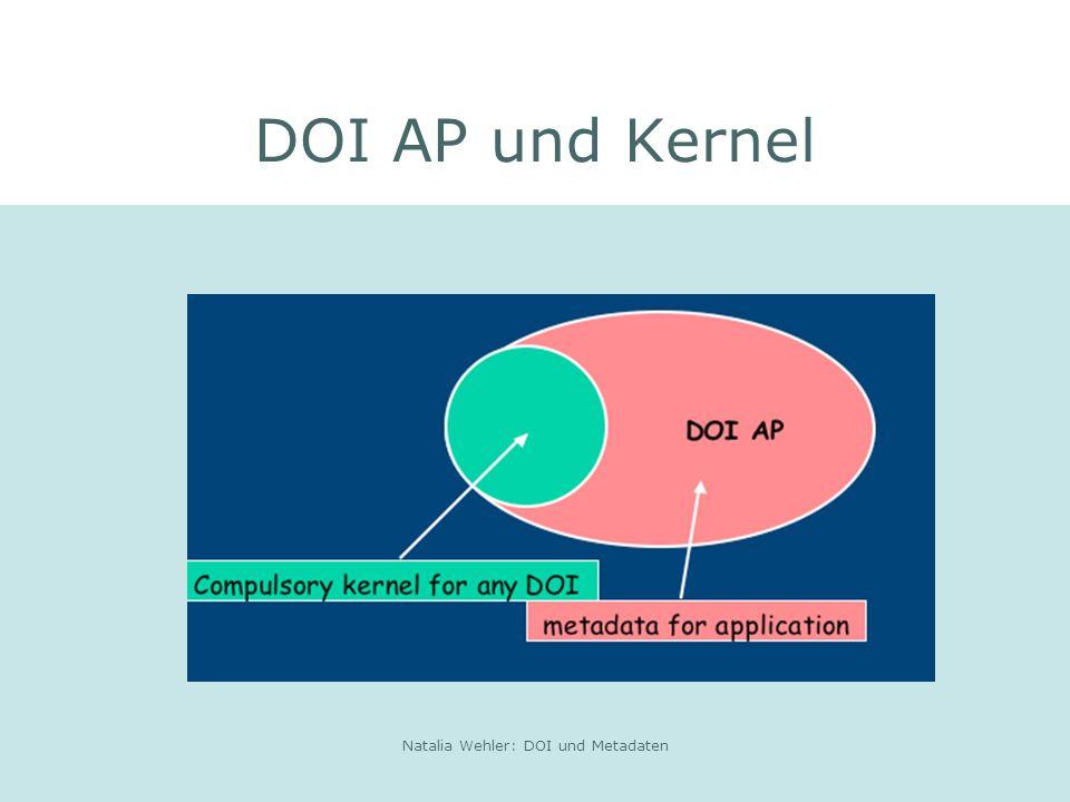 Natalia Wehler: DOI und Metadaten DOI AP und Kernel