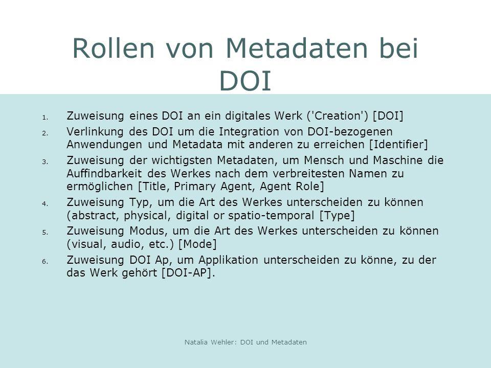 Natalia Wehler: DOI und Metadaten Rollen von Metadaten bei DOI 1.