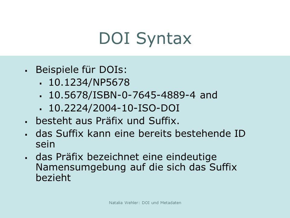 Natalia Wehler: DOI und Metadaten DOI Syntax Beispiele für DOIs: 10.1234/NP5678 10.5678/ISBN-0-7645-4889-4 and 10.2224/2004-10-ISO-DOI besteht aus Präfix und Suffix.