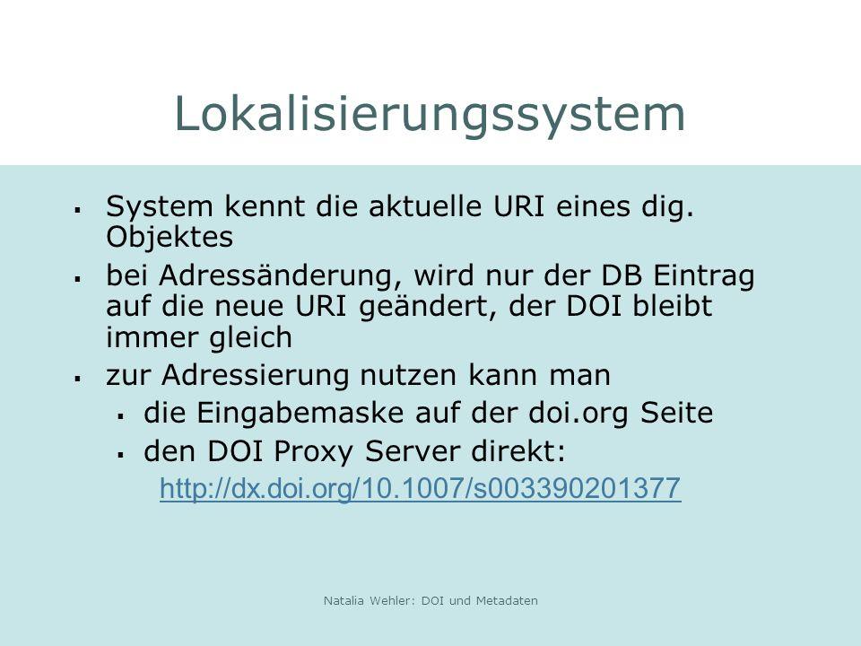 Natalia Wehler: DOI und Metadaten Lokalisierungssystem System kennt die aktuelle URI eines dig.