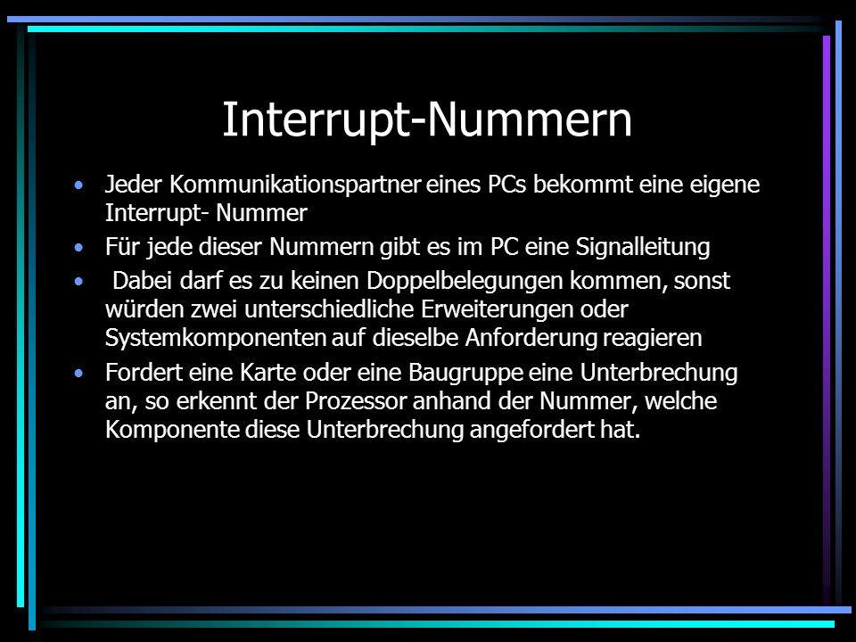 Interrupt Bei dem Transport von Daten zu einem Speichermedium oder zu einer Schnittstelle, muss der PC seine aktuelle Arbeit unterbrechen Man bemüht s