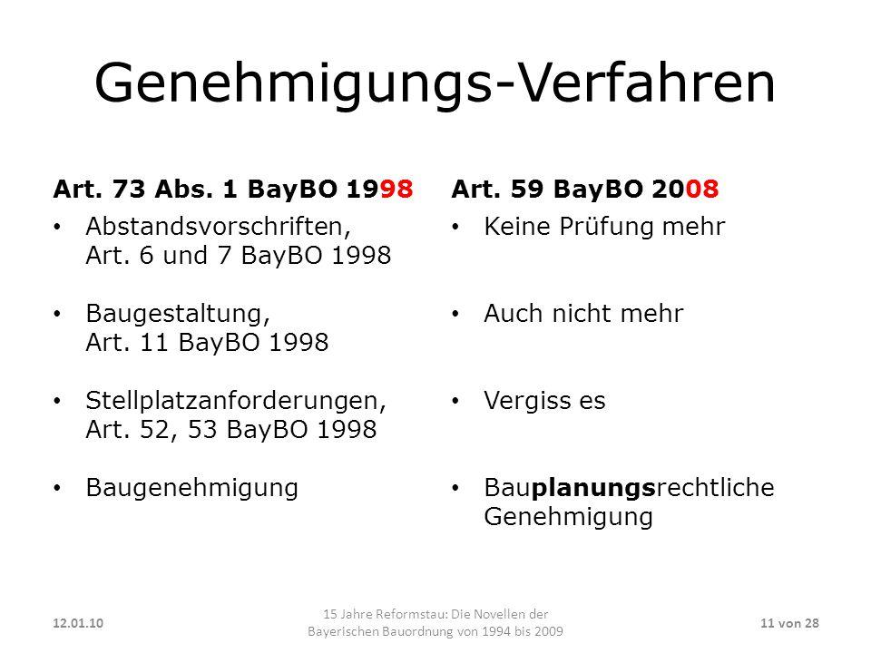 Genehmigungs-Verfahren Art. 73 Abs. 1 BayBO 1998 Abstandsvorschriften, Art. 6 und 7 BayBO 1998 Baugestaltung, Art. 11 BayBO 1998 Stellplatzanforderung