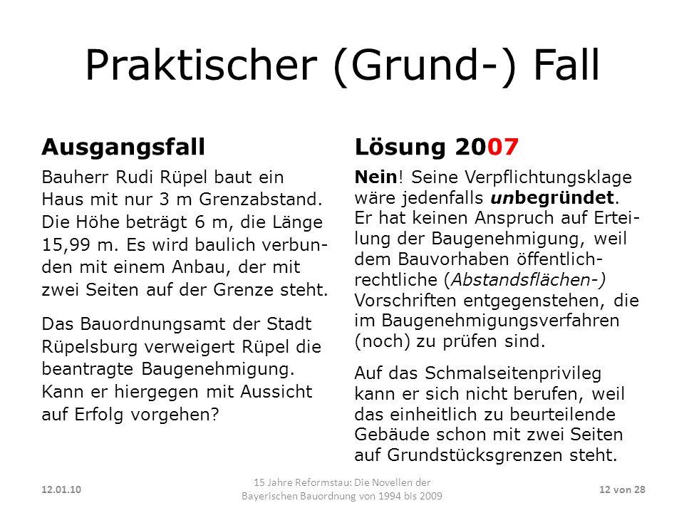 Praktischer (Grund-) Fall Ausgangsfall Bauherr Rudi Rüpel baut ein Haus mit nur 3 m Grenzabstand. Die Höhe beträgt 6 m, die Länge 15,99 m. Es wird bau