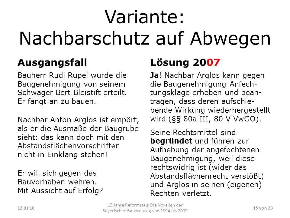 Variante: Nachbarschutz auf Abwegen Ausgangsfall Bauherr Rudi Rüpel wurde die Baugenehmigung von seinem Schwager Bert Bleistift erteilt. Er fängt an z