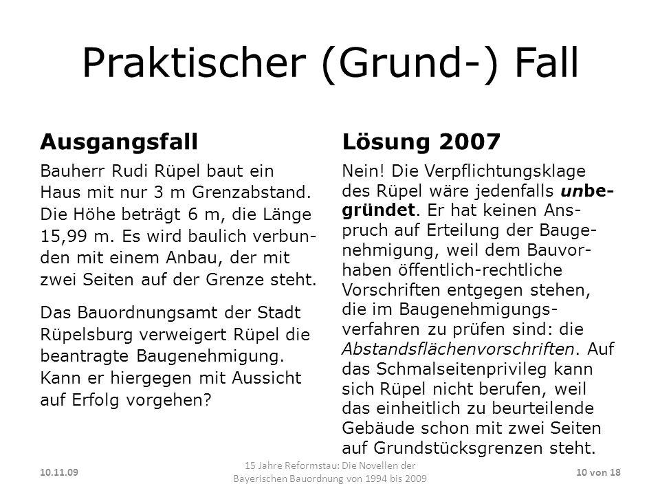Praktischer (Grund-) Fall Ausgangsfall Bauherr Rudi Rüpel baut ein Haus mit nur 3 m Grenzabstand.