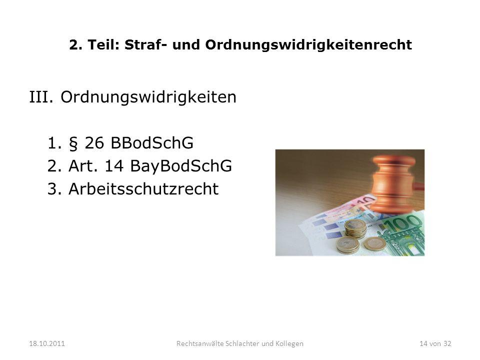 2. Teil: Straf- und Ordnungswidrigkeitenrecht III. Ordnungswidrigkeiten 1. § 26 BBodSchG 2. Art. 14 BayBodSchG 3. Arbeitsschutzrecht 18.10.2011Rechtsa