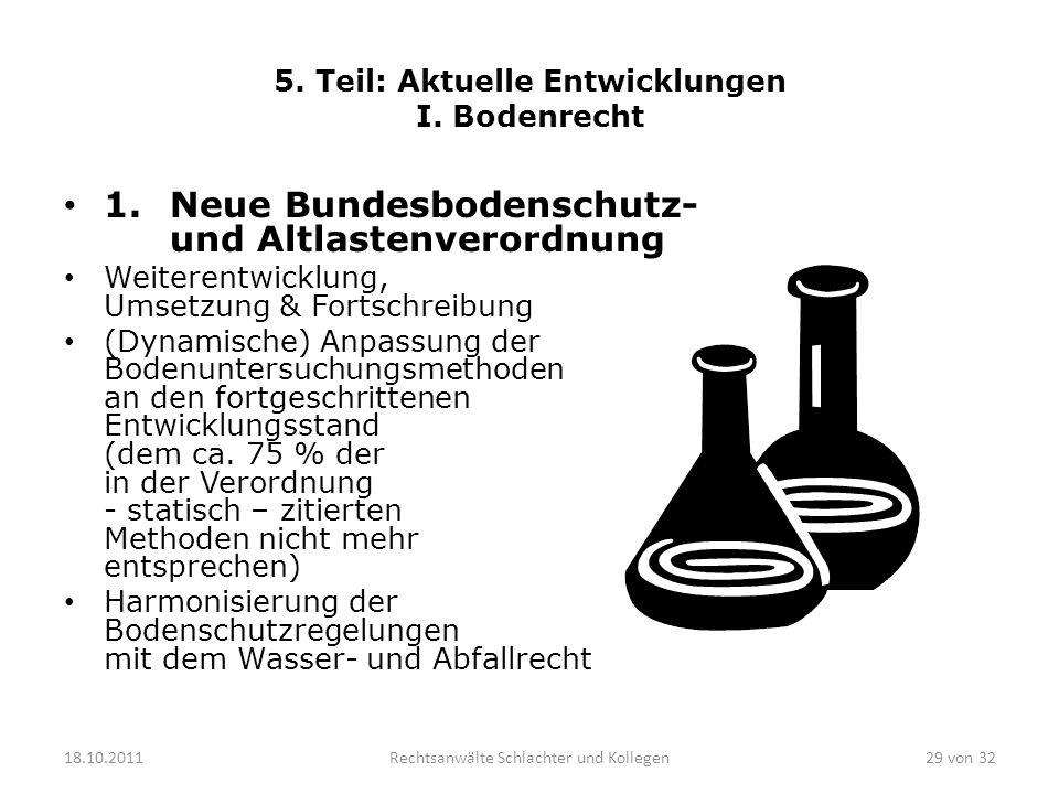 5. Teil: Aktuelle Entwicklungen I. Bodenrecht 1. Neue Bundesbodenschutz- und Altlastenverordnung Weiterentwicklung, Umsetzung & Fortschreibung (Dynami