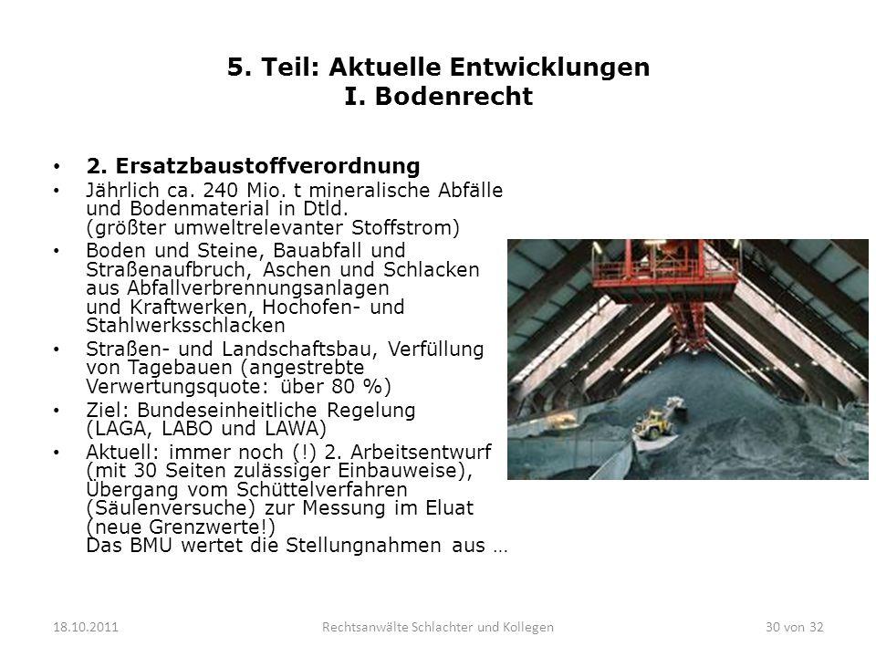 5. Teil: Aktuelle Entwicklungen I. Bodenrecht 2. Ersatzbaustoffverordnung Jährlich ca. 240 Mio. t mineralische Abfälle und Bodenmaterial in Dtld. (grö