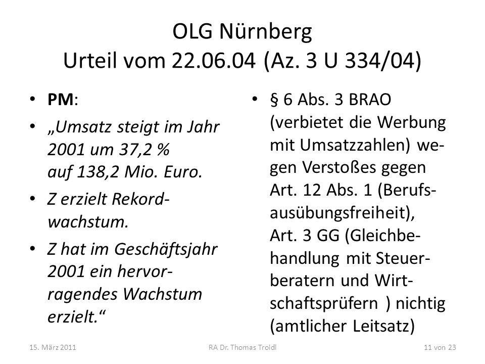 OLG Nürnberg Urteil vom 22.06.04 (Az. 3 U 334/04) PM: Umsatz steigt im Jahr 2001 um 37,2 % auf 138,2 Mio. Euro. Z erzielt Rekord- wachstum. Z hat im G