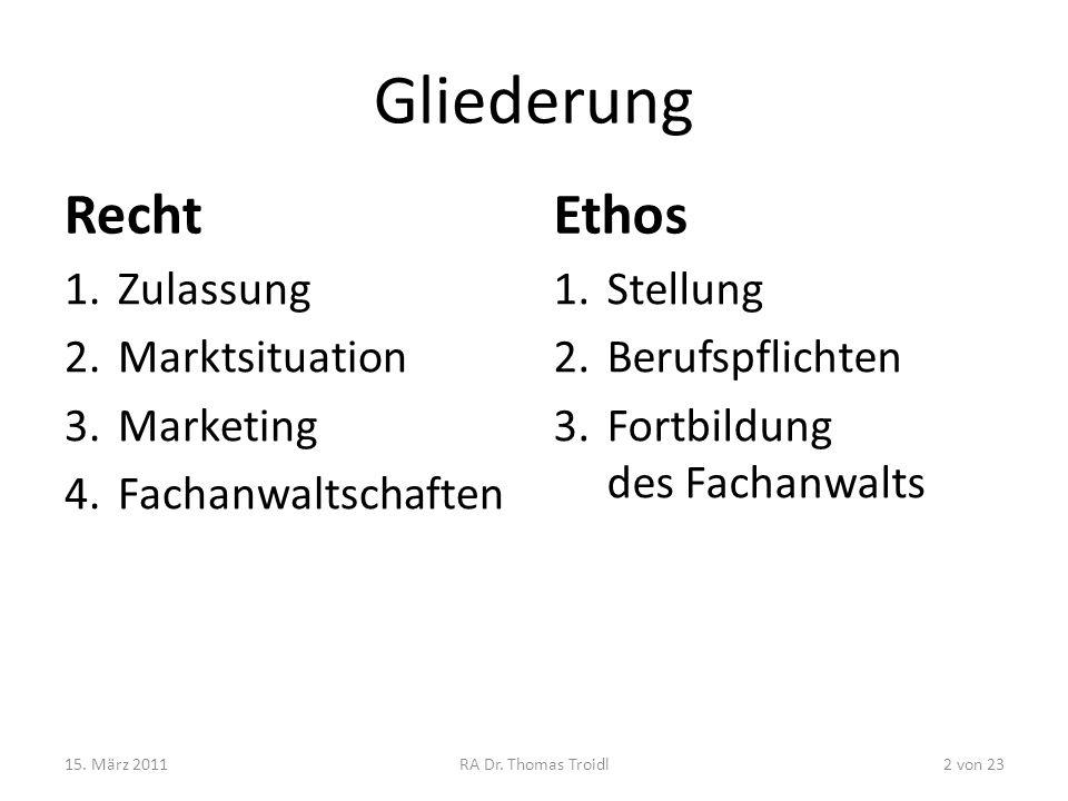 Gliederung Recht 1.Zulassung 2.Marktsituation 3.Marketing 4.Fachanwaltschaften Ethos 1.Stellung 2.Berufspflichten 3.Fortbildung des Fachanwalts 15. Mä