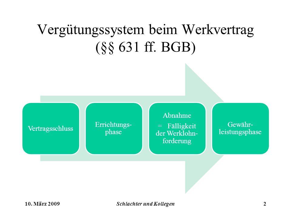 Vergütungssystem beim Werkvertrag (§§ 631 ff.