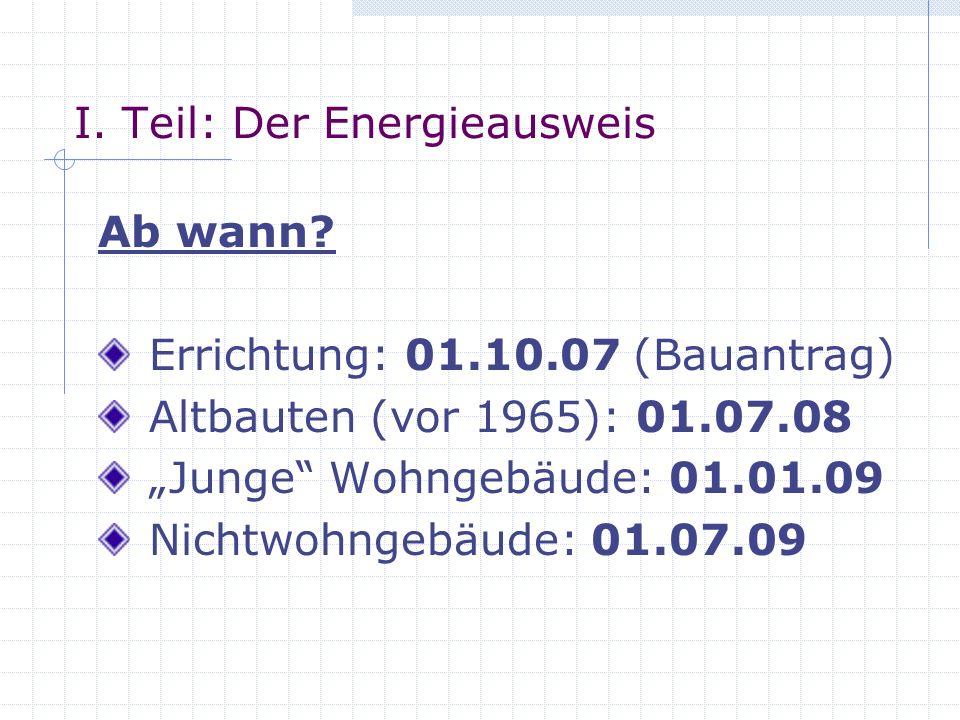 I.Teil: Der Energieausweis Ab wann.