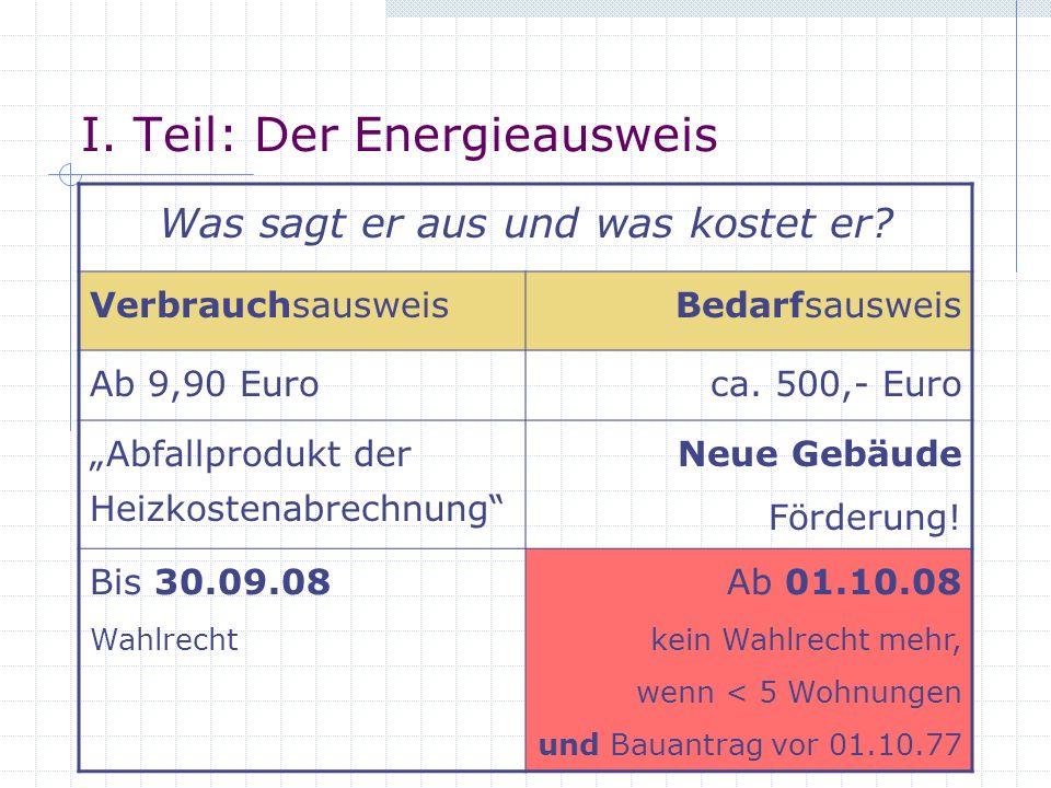 I. Teil: Der Energieausweis Was sagt er aus und was kostet er? VerbrauchsausweisBedarfsausweis Ab 9,90 Euroca. 500,- Euro Abfallprodukt der Heizkosten
