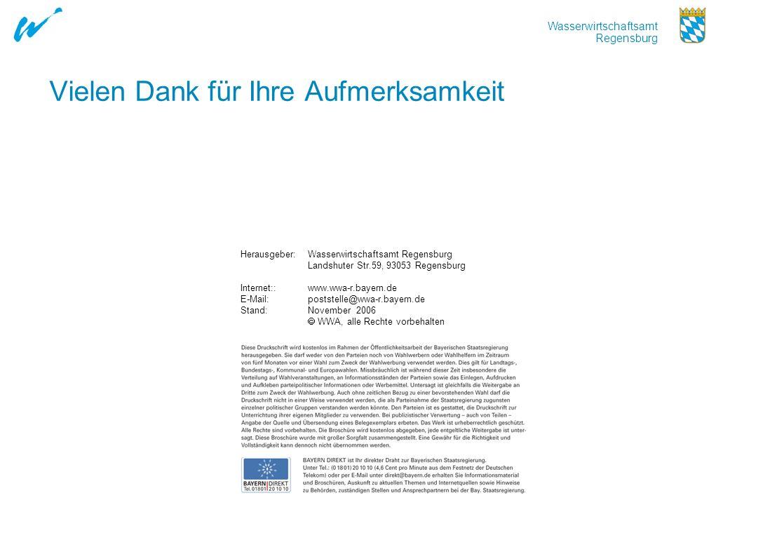 Wasserwirtschaftsamt Regensburg Vielen Dank für Ihre Aufmerksamkeit Herausgeber:Wasserwirtschaftsamt Regensburg Landshuter Str.59, 93053 Regensburg In