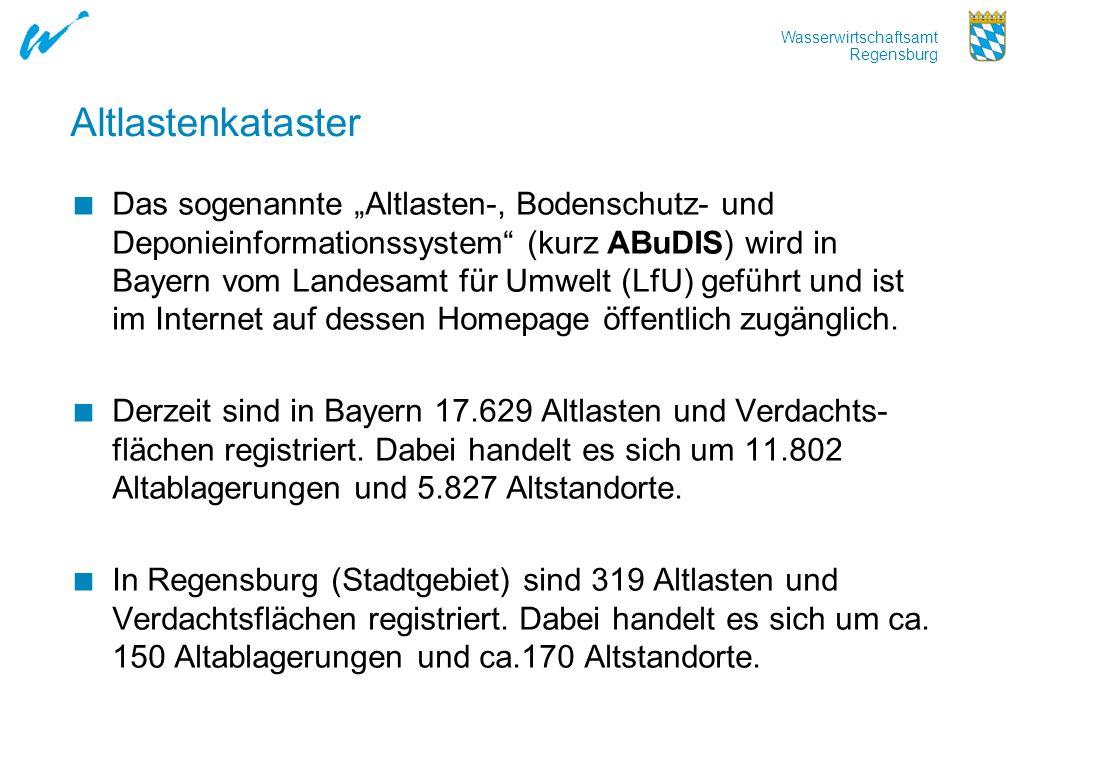 Wasserwirtschaftsamt Regensburg Altlastenkataster Das sogenannte Altlasten-, Bodenschutz- und Deponieinformationssystem (kurz ABuDIS) wird in Bayern v