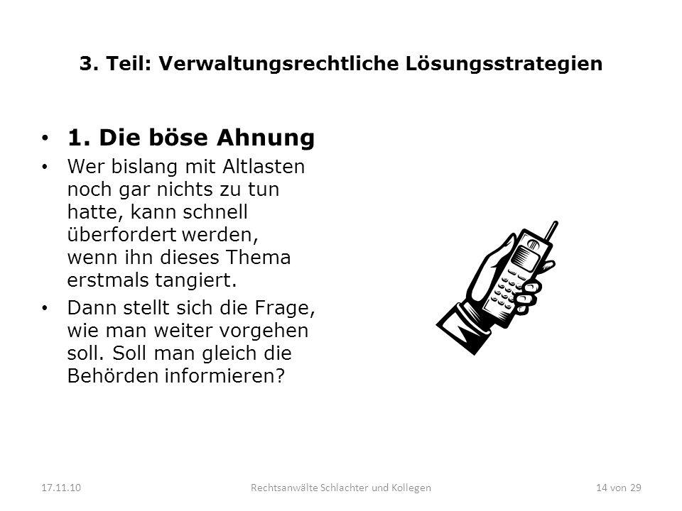 3.Teil: Verwaltungsrechtliche Lösungsstrategien 1.