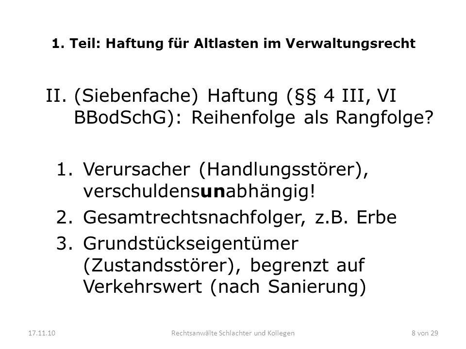 1. Teil: Haftung für Altlasten im Verwaltungsrecht II.(Siebenfache) Haftung (§§ 4 III, VI BBodSchG): Reihenfolge als Rangfolge? 1.Verursacher (Handlun