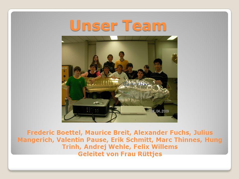 Unser Team Frederic Boettel, Maurice Breit, Alexander Fuchs, Julius Mangerich, Valentin Pause, Erik Schmitt, Marc Thinnes, Hung Trinh, Andrej Wehle, F