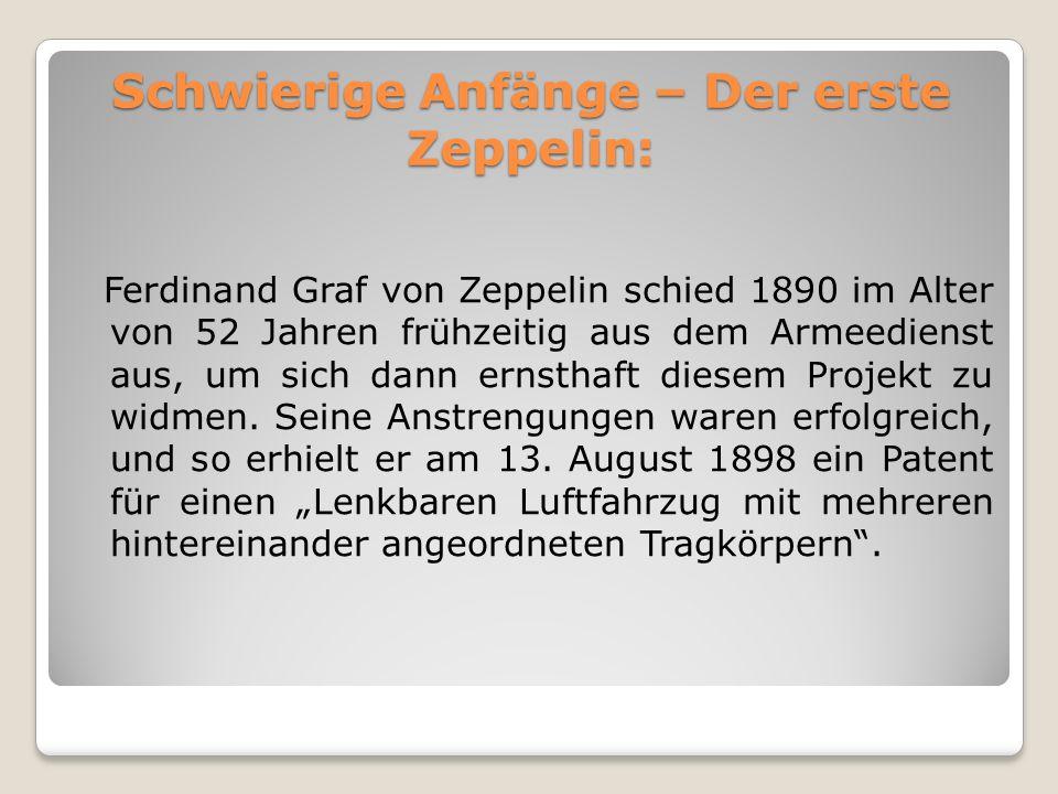 Schwierige Anfänge – Der erste Zeppelin: Ferdinand Graf von Zeppelin schied 1890 im Alter von 52 Jahren frühzeitig aus dem Armeedienst aus, um sich da