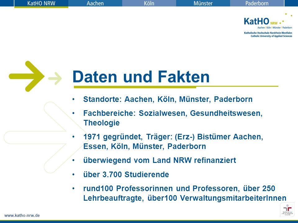 www.katho-nrw.de Daten und Fakten Standorte: Aachen, Köln, Münster, Paderborn Fachbereiche: Sozialwesen, Gesundheitswesen, Theologie 1971 gegründet, T