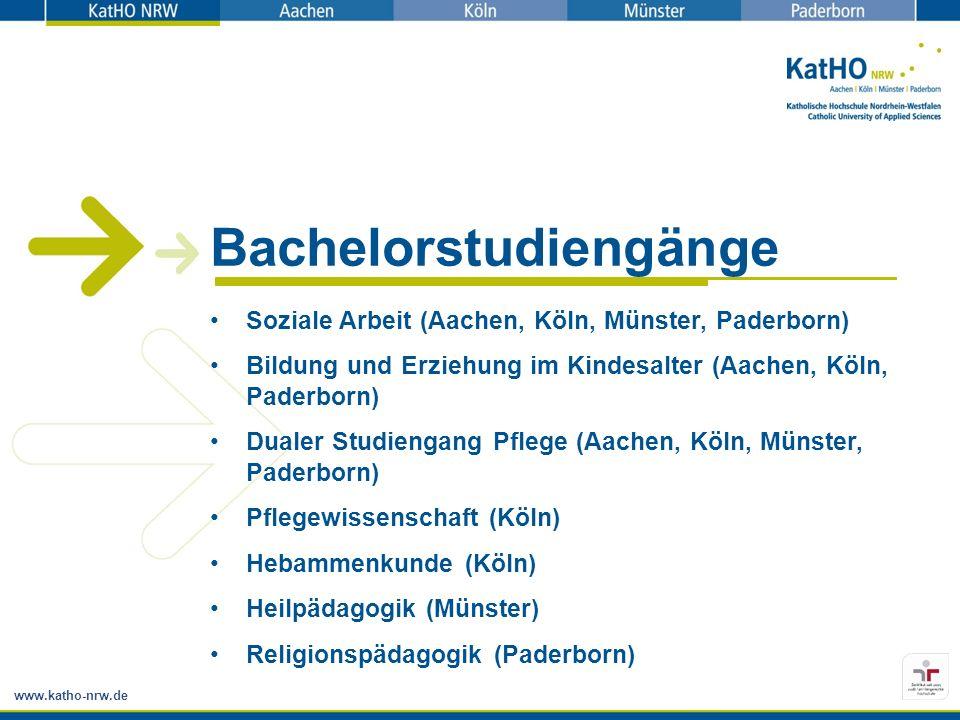 www.katho-nrw.de Bachelorstudiengänge Soziale Arbeit (Aachen, Köln, Münster, Paderborn) Bildung und Erziehung im Kindesalter (Aachen, Köln, Paderborn)