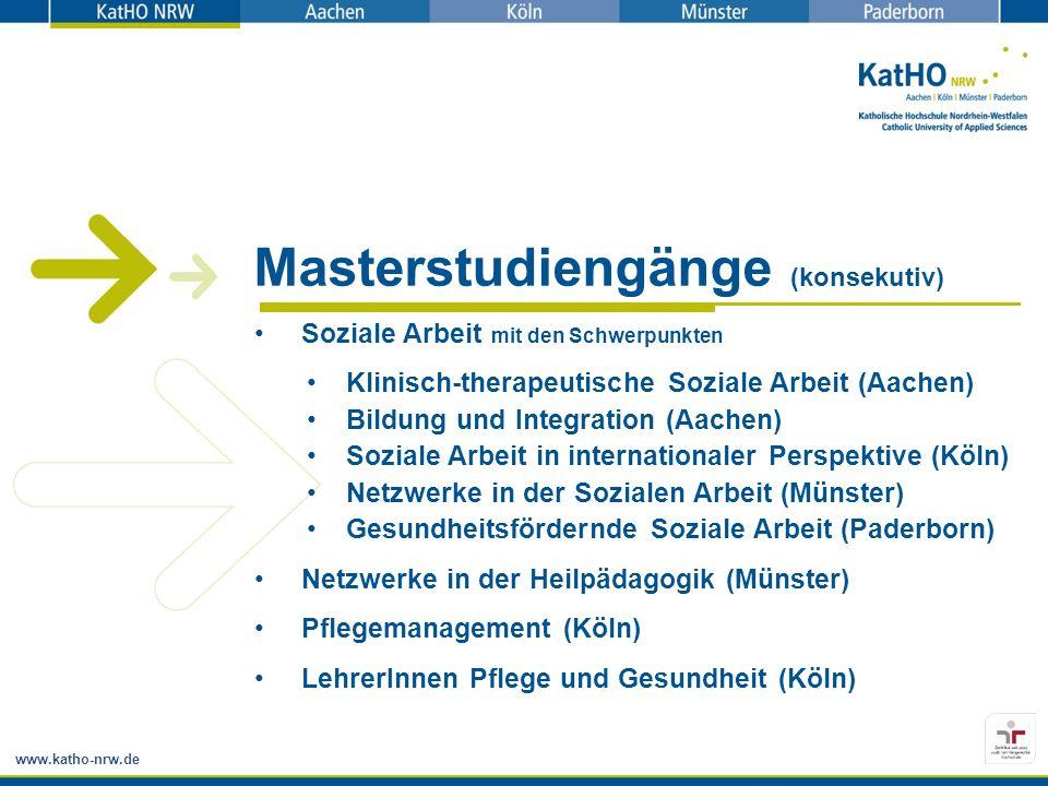 www.katho-nrw.de Masterstudiengänge (konsekutiv) Soziale Arbeit mit den Schwerpunkten Klinisch-therapeutische Soziale Arbeit (Aachen) Bildung und Inte