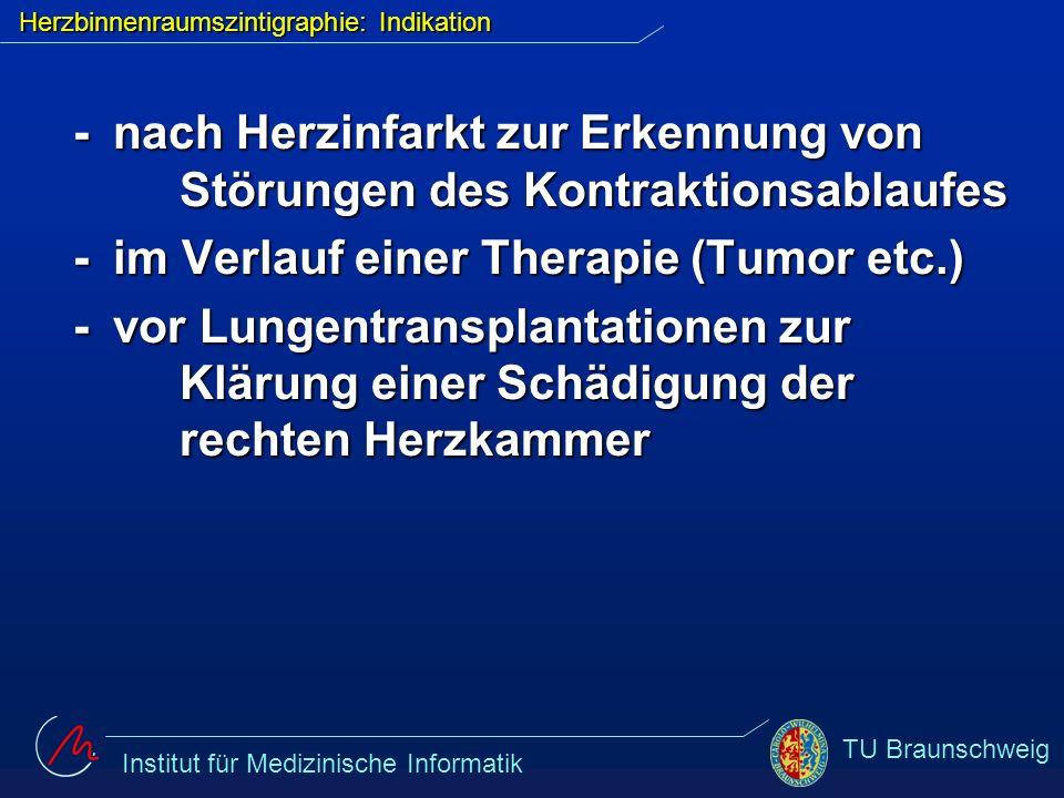 Institut für Medizinische Informatik TU Braunschweig Herzbinnenraumszintigraphie: Indikation - nach Herzinfarkt zur Erkennung von Störungen des Kontra