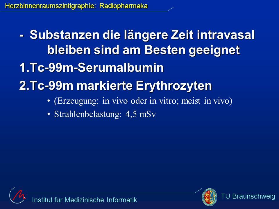 Institut für Medizinische Informatik TU Braunschweig Herzbinnenraumszintigraphie: Radiopharmaka -Substanzen die längere Zeit intravasal bleiben sind a