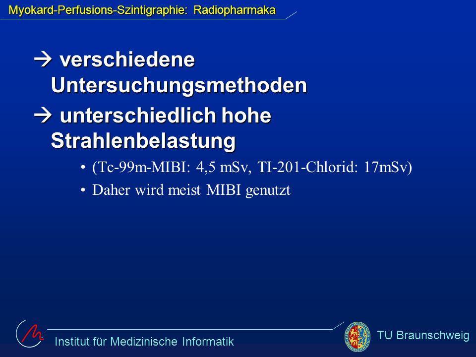 Institut für Medizinische Informatik TU Braunschweig Myokard-Perfusions-Szintigraphie: Untersuchung -Steigerung der Durchblutung durch körperliche Belastung bzw.