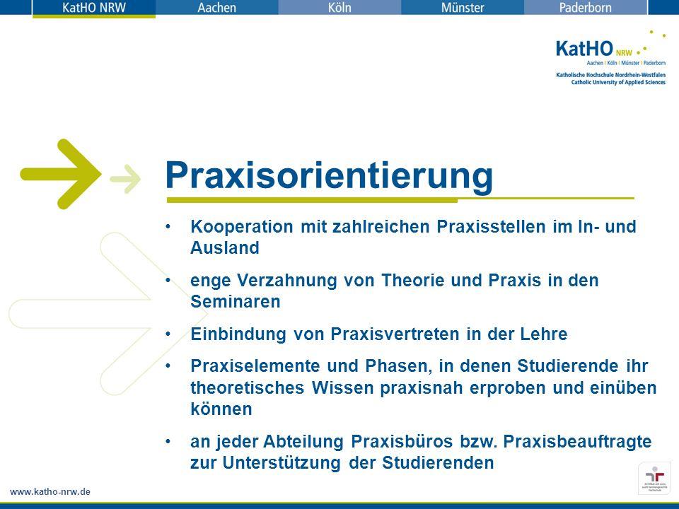 www.katho-nrw.de Praxisorientierung Kooperation mit zahlreichen Praxisstellen im In- und Ausland enge Verzahnung von Theorie und Praxis in den Seminar