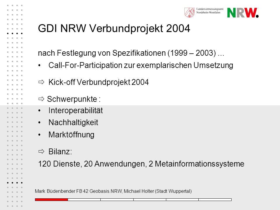 Mark Büdenbender FB 42 Geobasis.NRW, Michael Holter (Stadt Wuppertal) GDI NRW Verbundprojekt 2004 nach Festlegung von Spezifikationen (1999 – 2003)...