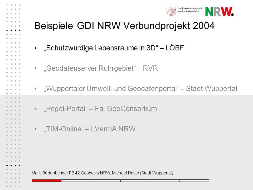 Mark Büdenbender FB 42 Geobasis.NRW, Michael Holter (Stadt Wuppertal) Beispiele GDI NRW Verbundprojekt 2004 Schutzwürdige Lebensräume in 3D – LÖBF Geo