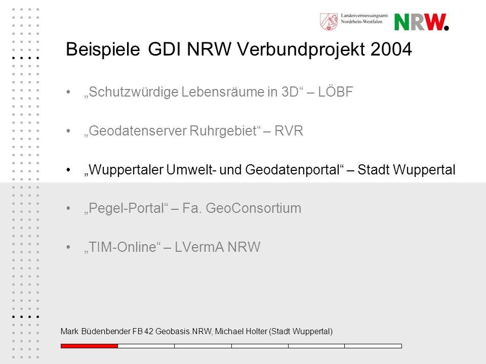 Beispiele GDI NRW Verbundprojekt 2004 Schutzwürdige Lebensräume in 3D – LÖBF Geodatenserver Ruhrgebiet – RVR Wuppertaler Umwelt- und Geodatenportal –
