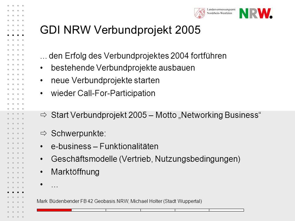 GDI NRW Verbundprojekt 2005... den Erfolg des Verbundprojektes 2004 fortführen bestehende Verbundprojekte ausbauen neue Verbundprojekte starten wieder