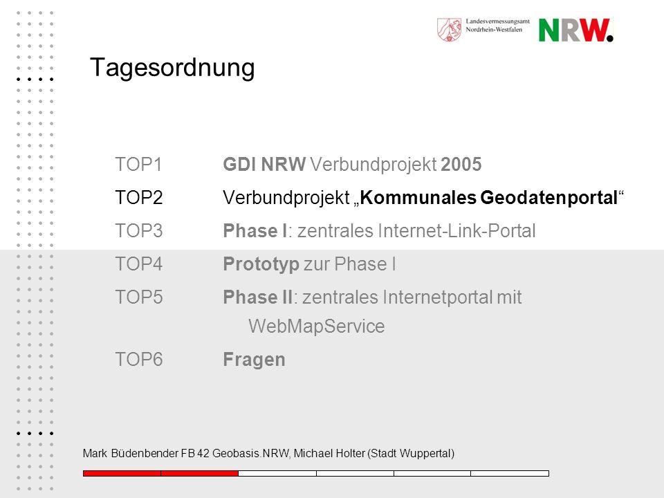 Mark Büdenbender FB 42 Geobasis.NRW, Michael Holter (Stadt Wuppertal) Tagesordnung TOP1GDI NRW Verbundprojekt 2005 TOP2 Verbundprojekt Kommunales Geod
